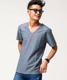VICCI/VICCI【ビッチ】タックジャガードVネック半袖Tシャツ/501001044