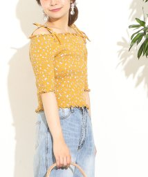 NICE CLAUP OUTLET/【natural couture】花柄シャーリングオフショル/500996662