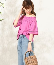 NICE CLAUP OUTLET/【natural couture】シャーリング2WAYトップス/500996663