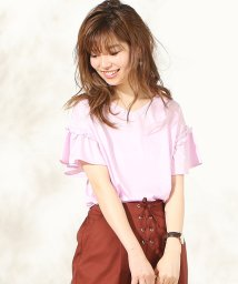 NICE CLAUP OUTLET/【natural couture】ミニフリル付きフレア袖Tシャツ/500996664