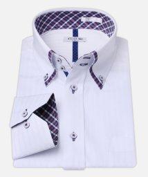 ATELIER365/白ドビー柄 デザインワイシャツ【ギンガムチェック】/501004388