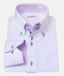 ATELIER365/白ドビー柄 デザインワイシャツ【パープルストライプ】/501004389