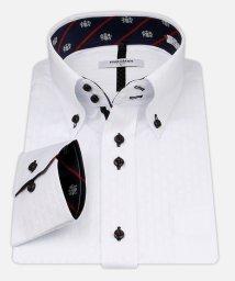 ATELIER365/白ドビー柄 デザインワイシャツ【クレストネイビー】/501004392