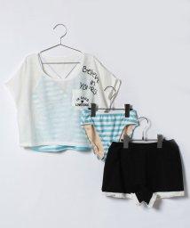 Lovetoxic/ロゴTシャツ×裾フリンジショートパンツ×ボーダータンキニセット/500996464