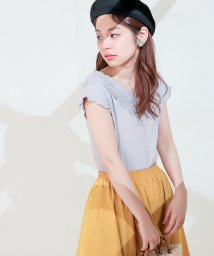 NICE CLAUP OUTLET/【naturalcouture】ワイドリブレースTシャツ/500997803