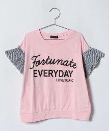 Lovetoxic/ストライプフリル袖ロゴ入りTシャツ/501002231