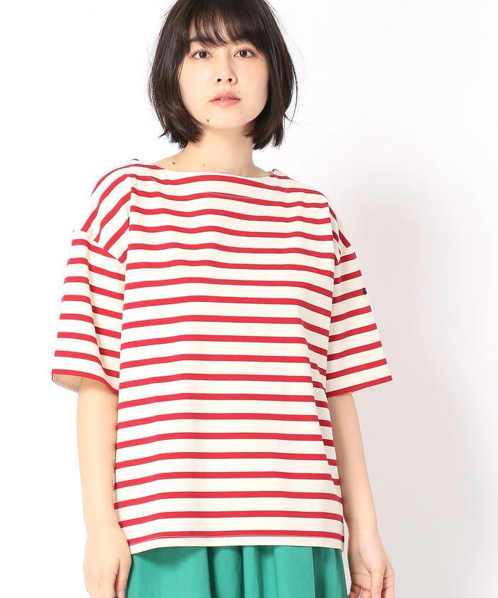 グランドパークデラヴェボーダー柄半袖Tシャツレディース01レッド99(FREE)【Grand PARK】