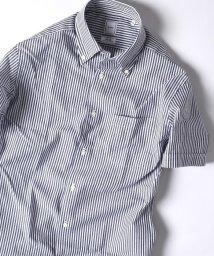 SHIPS MEN/SD: 『カラミ』ストライプ イタリアンボタンダウン ショートスリーブ(半袖) シャツ(ネイビー)/501009250