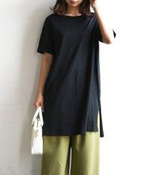 and it_/【and it_】大人シンプルサイドスリットワンピース【M】(半袖tシャツ ロングTシャツ チュニック レディース ロングTシャツ 半袖 ワンピース トップス /501012916