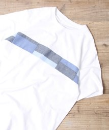 coen/布帛パッチワーク切り替えTシャツ/501013395