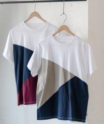 coen/USAコットンカラーブロック切り替えTシャツ/501013396
