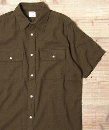 coen/綿麻ソリッドキャンプカラーショートスリーブシャツ/501009575