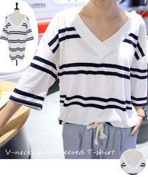 miniministore/vネック tシャツ カジュアル ゆったり ストライプ柄 カットソー ボーダー トップス/501014809