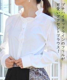 miniministore/白シャツ レディース 波襟 シャツ ブラウス オフィス 大人カジュアル トップス 長袖/501014815