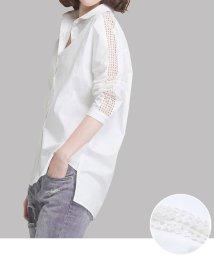 miniministore/襟付き 前開きシャツ レディース ブラウス 7分袖 レース切り替え トップス 春秋/501014816