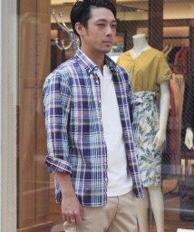 NOLLEY'S goodman/サッカーマドラスチェック七分袖B.Dシャツ/501006244