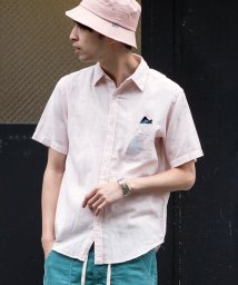 coen/綿麻シャンブレーショートスリーブレギュラーカラーシャツ/501009574