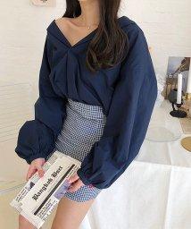 ANDJ/裾スリットボリュームスリーブ長袖スキッパーシャツ/501020840
