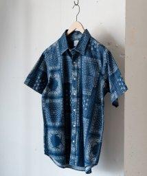 coen/インディゴ抜染ショートスリーブシャツ/501009579