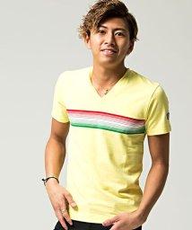 VIOLA/VIOLA【ヴィオラ】パネルボーダーVネック半袖Tシャツ/501025653