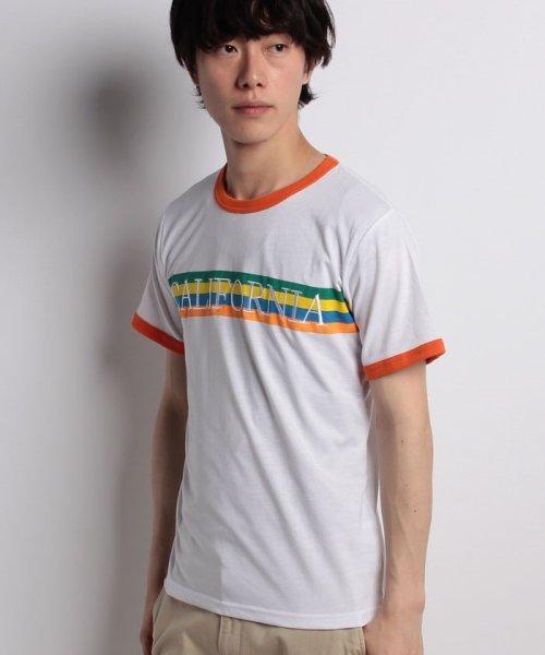 STYLEBLOCK(スタイルブロック)/レインボープリントリンガーTシャツ/sb275729