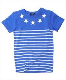 GLAZOS/スターデザイン切り替えボーダー半袖Tシャツ/501025292