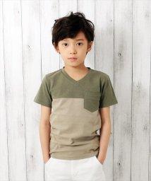 GLAZOS/カラーブロック半袖Tシャツ/501025297