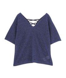 MURUA/VネックラメTシャツ/501030345