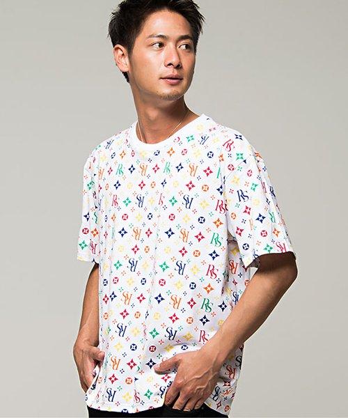 CavariA【キャバリア】総柄プリントビッグシルエットクルーネック半袖Tシャツ