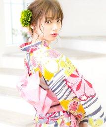 Dita/Dita【ディータ】1人で簡単に着られる作り帯の可愛い女性浴衣 4点フルセット(ゆかた・作り帯・下駄・着付けカタログ) かすれ墨と古典桜/501030885