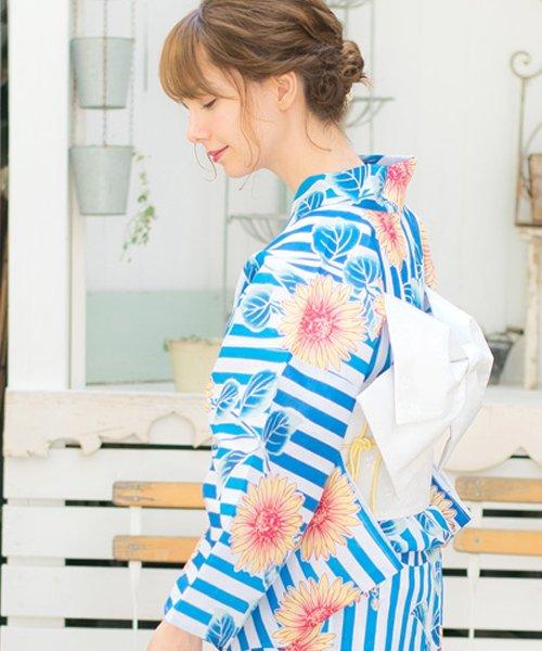 Dita(ディータ)/Dita【ディータ】1人で簡単に着られる作り帯の可愛い女性浴衣 4点フルセット(ゆかた・作り帯・下駄・着付けカタログ)/dl-2018kimuky1