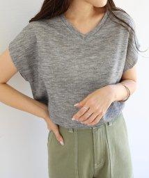 and Me.../【L-9】フレンチスリーブ Vネック ニット カットソー 半袖 Tシャツ/501031244