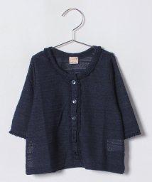 petit main/袖フリル透かし編みカーディガン/501026683