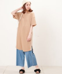NICE CLAUP OUTLET/【natural couture】ロングワッフルラインTシャツ/501030670