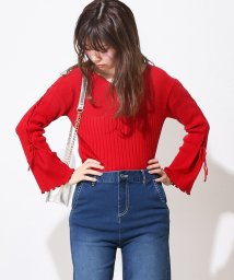 NICE CLAUP OUTLET/【natural couture】ハートネックレースアップニット/501030672