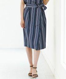 NIJYUSANKU/【洗える】イレギュラーストライプ プリント ラップ スカート/501036204