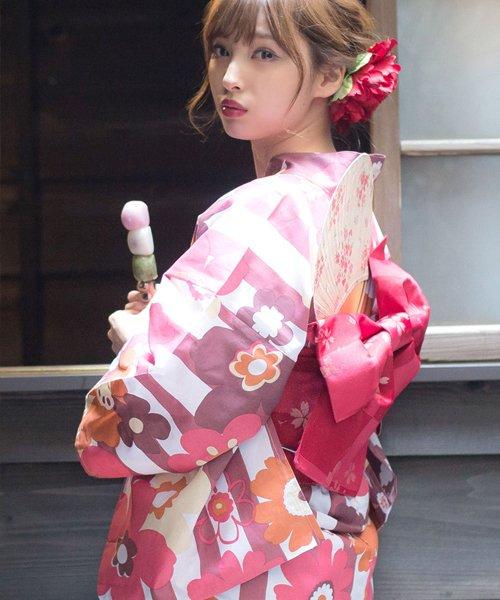 Dita(ディータ)/Dita【ディータ】1人で簡単に着られる作り帯の可愛い女性浴衣 4点フルセット(ゆかた・作り帯・下駄・着付けカタログ)/dl-2013yukata