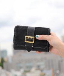 ninon/【牛革】 ハラコ調ベルトフラップアニマル二つ折り財布/501051189