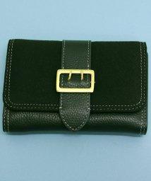 ninon/【牛革】 異素材切り替えベルトフラップ二つ折り財布/501051191