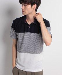 STYLEBLOCK/スラブタック天竺先染めボーダー3段切替半袖ポロシャツ/501029778