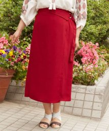 eur3/【大きいサイズ】ウエストマーク付!麻見えラップスカート/500976678