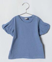 petit main/バルーンスリーブストライプ柄Tシャツ/501037443