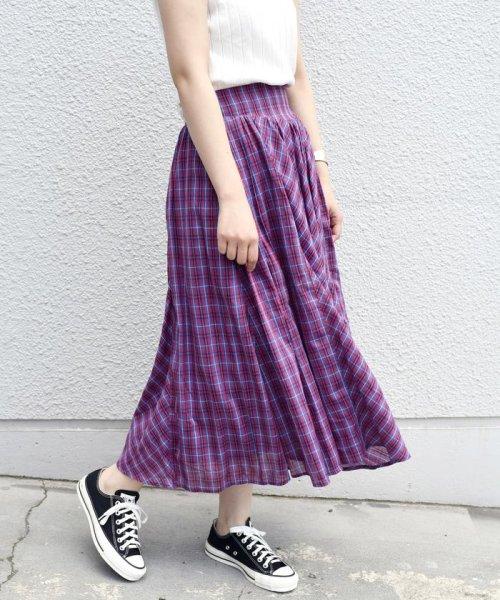 Khaju(カージュ)/Khaju:チェックボリュームロングスカート/323220078