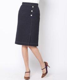 Viaggio Blu/メランジツイルボタン付きスカート/501055449