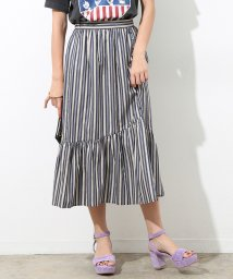 ROPE' mademoiselle/マルチストライプペプラムギャザースカート/501055651