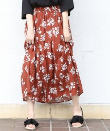 coen/ヴィンテージサテンフラワープリントロングフレアスカート(花柄スカート)/501057055