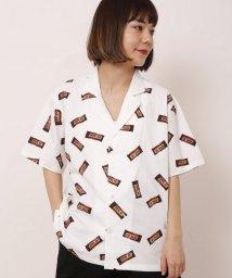DOUBLE NAME/総柄開襟シャツ(チョコレート)/501034652