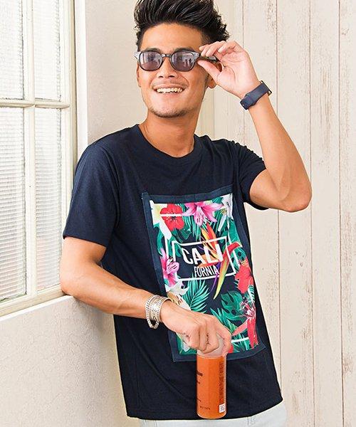 CavariA(キャバリア)/CavariA【キャバリア】別布フラワーボックスプリントクルーネック半袖Tシャツ/CAK18-15