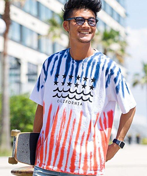CavariA【キャバリア】2色タイダイ染めクルーネック半袖Tシャツ
