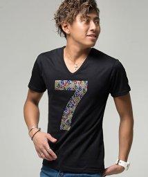 CavariA/CavariA【キャバリア】ナンバリングラインストーン付きVネック半袖Tシャツ/501072209